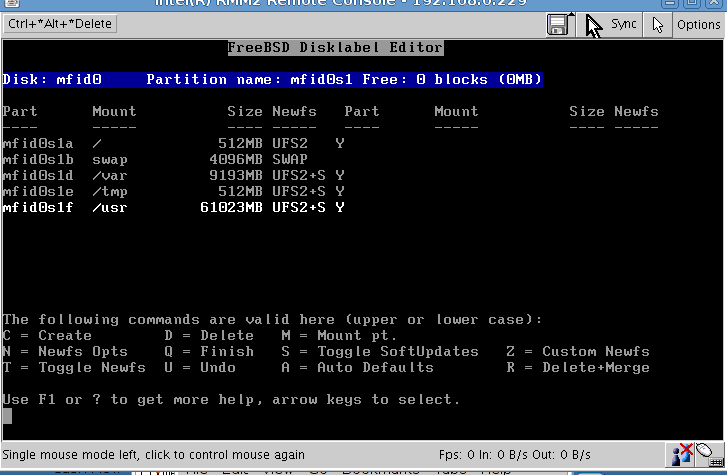 Fdisk the new FreeBSD installation with Remote Management Console